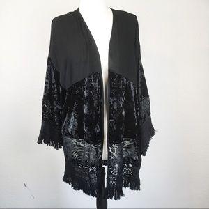 Knox Rose Open Front Boho Black Velvet Kimono